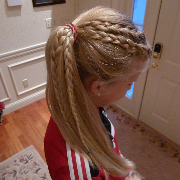 Two French Braids Starting On One Side Then Pulled Back