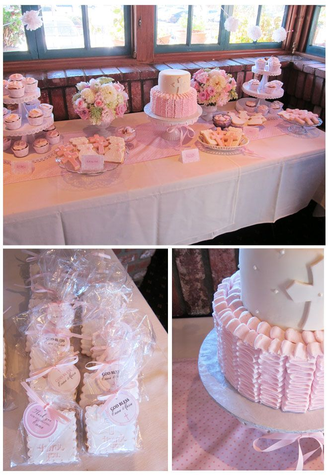 Baby girl baptism or christening celebration dessert table. www.greenbeansieink.com
