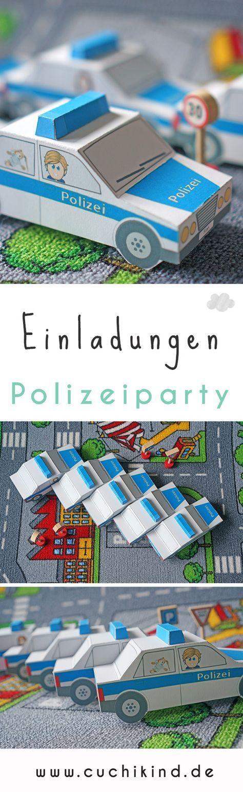 Einladungskarten für den Kindergeburtstag mit dem Motto Polizei selber machen. Mit Printable (kostenlos) zum Ausdrucken und Nachbasteln. Alles für die Polizeiparty. #polizeiparty #kindergeburtstag #freebie