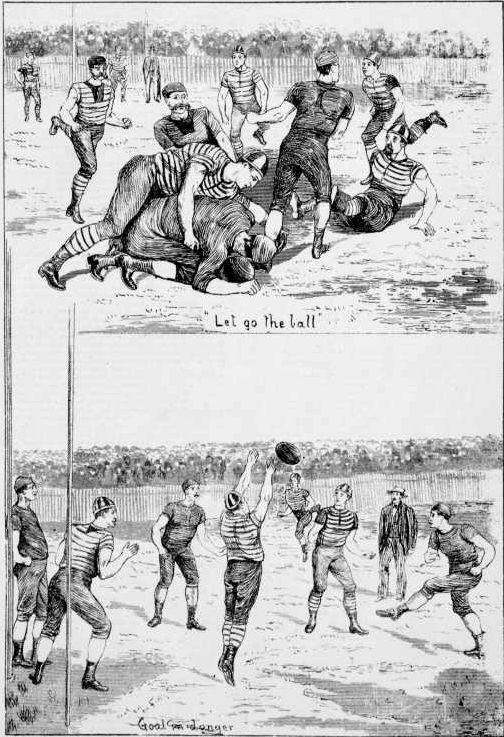 Sketches of Geelong (in the hooped guernsey) playing Melbourne in 1880