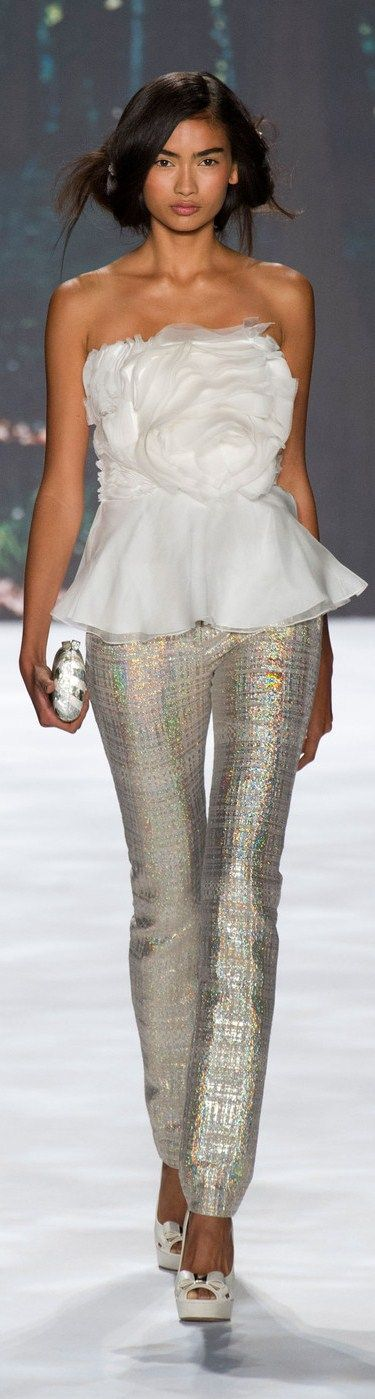 Badgley Mischka Spring 2013 Ready-to-Wear. Super cool pants. Love the top also.