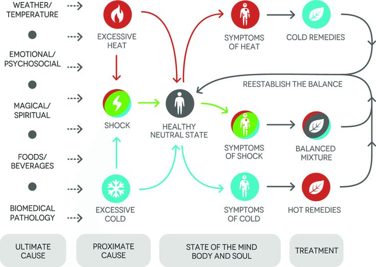 Fig. 3. Aetiological model of the Zoque medical system. Diverse ultimate causes result in an accumulation of heat or cold. This in turn transforms the healthy neutral state into one of illness, where hot or cold symptoms prevail. By applying remedies according to the principle of opposites, the balance, and thus health, is re-established. A rapid transition from a heated to a cold state results in ambiguous symptoms of shock, which require treatment with a balanced mixture.
