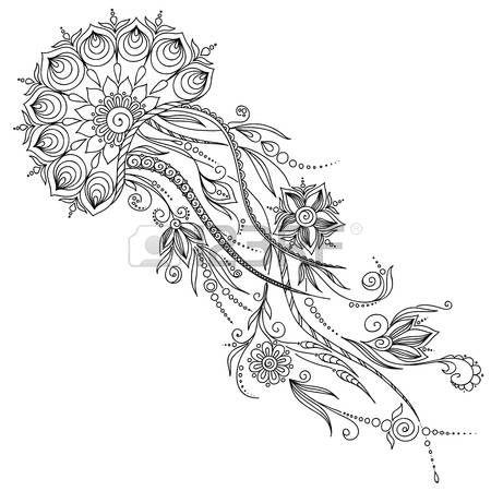 mer illustrations: Motif pour le livre de coloriage. Coloriages de livres pour enfants et adultes. Résumé illustration graphique de méduses dans le vecteur. Henna Mehndi style de tatouage Doodles