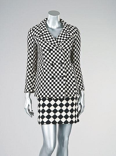 The Marit Allen Collection of Foale & Tuffin Fashion. An important Foale & Tuffin black and white checked wool 'mod' suit, 1964.