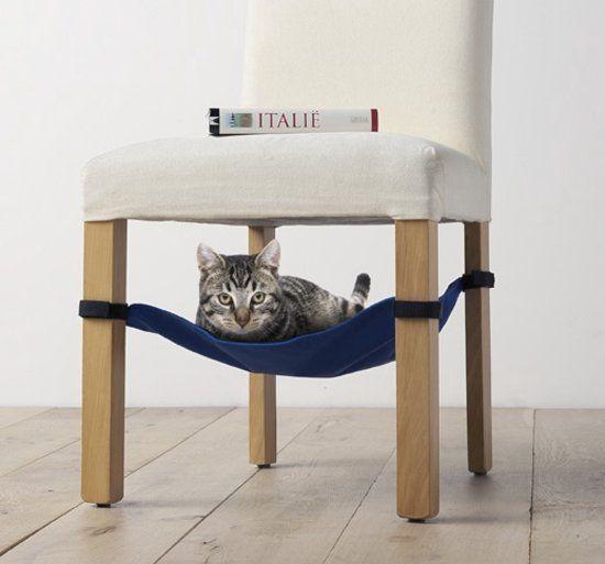 Kattenhangmat katten hangmat kattenmand onder de stoel (grijs)
