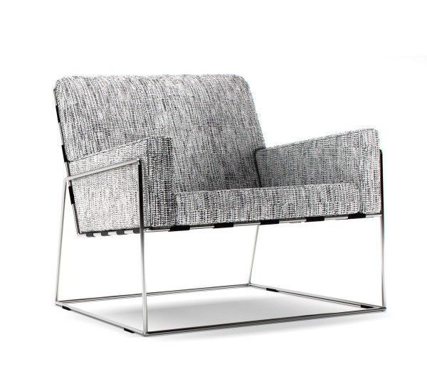 Designed by Marcel Wanders for Moooi in 2014, the Charles Chair has a stainless steel frame available in two finishes (chromed or matt black powdercoated), fabric straps, foam padding and fabric upholstery. The Charles Chair has an essential and geometric design characterised by a thin yet sturdy long-legged metal frame that holds the comfortable cushions. The slightly uplifted line of the seat gives a pleasant illusion of motion.