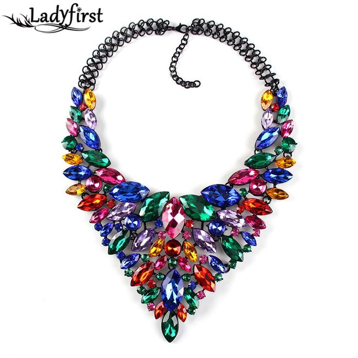 Color Full Hot Crystal Gem Luxury Bridal V Shaped Rhinestone Wedding Maxi Statement Necklace Collar Necklace &Pendants0120