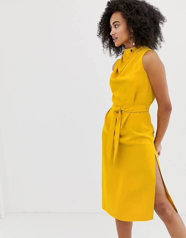 a6504363ee6c0 River Island midi dress with belt detail in yellow | corporate ...