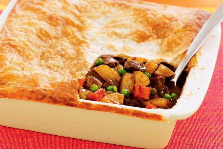 Leftover lamb and vegie pie
