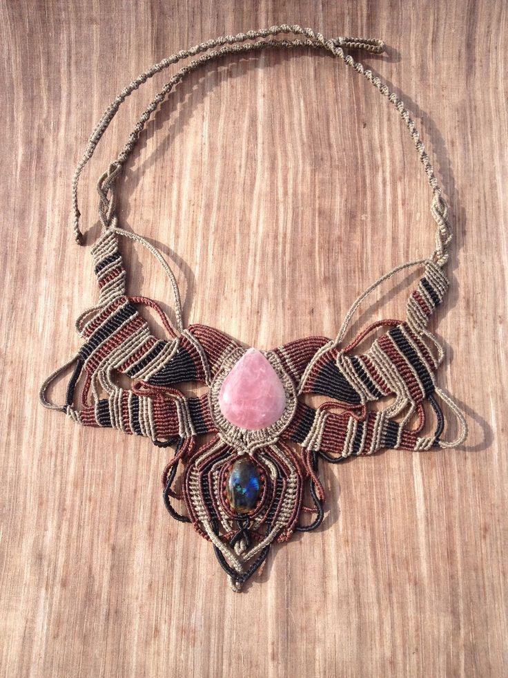 Strawberry Quartz and labradorite macrame crystal necklace.