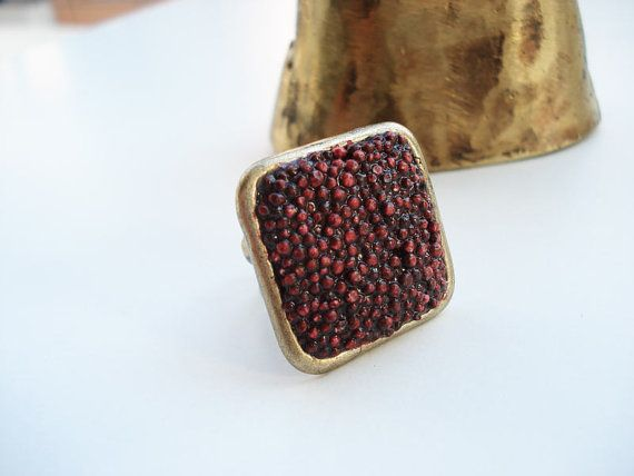 Wine square ooak polystyrene rectangle adjustable ring in by Joogr, €16.00