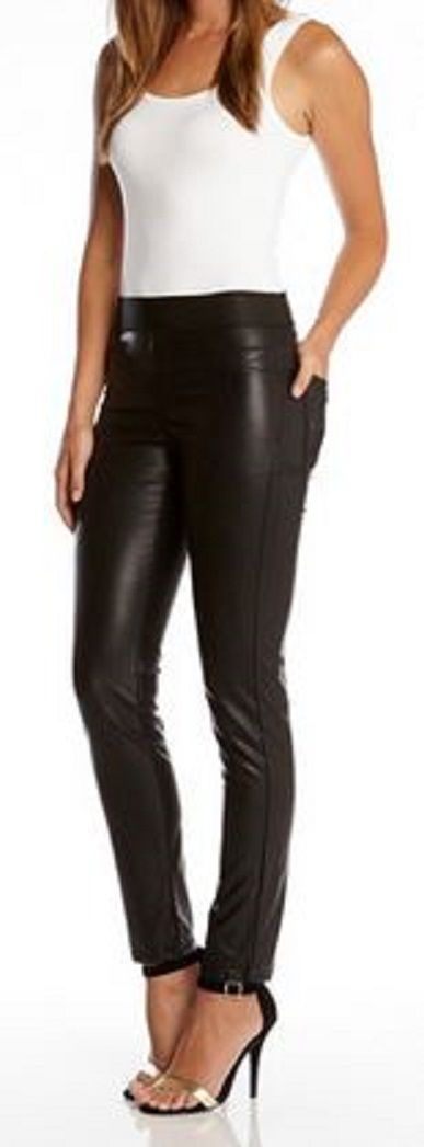 Perfect for Date Night! Faux Leather Leggings + Super Soft Tank +Sexy Heels! Love this look! I'd add a jean jacket or moto jacket for cooler evenings! #Karen_Kane #KarenKane #sexy #faux_leather_leggings