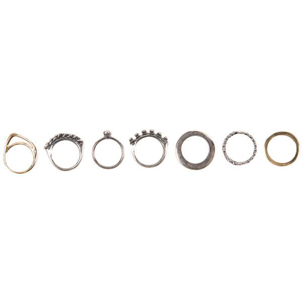 Iosselliani | Set of 7 Gold and Silver Rings by Iosselliani ($220) ❤ liked on Polyvore