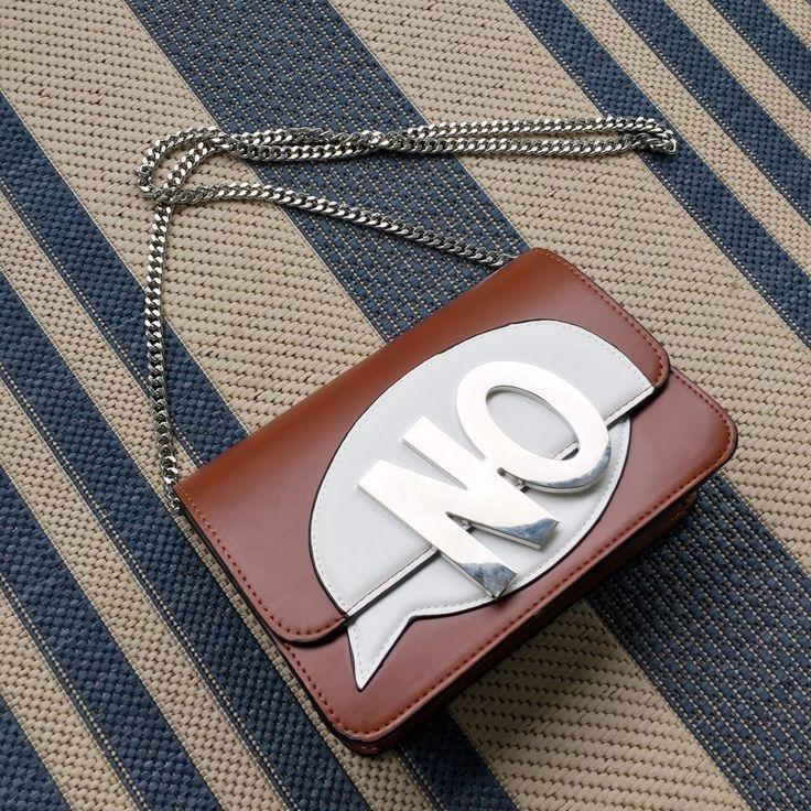 "NWT ZARA ""No"" Brown White Silver Purse With Chain Handbag Brandy Melville Coach #Zara #MessengerCrossBody"