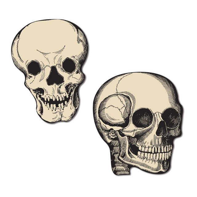 Skull Mini Cutouts Are Vintage Halloween Designs From Various Beistle Products Including Jointed Skeletons And Centerpieces These Classic