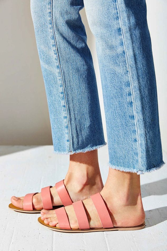 raw hem jeans & pink strap sandals #style #fashion #shoes #summer #under25: raw hem jeans & pink strap sandals #style #fashion #shoes #summer #under25