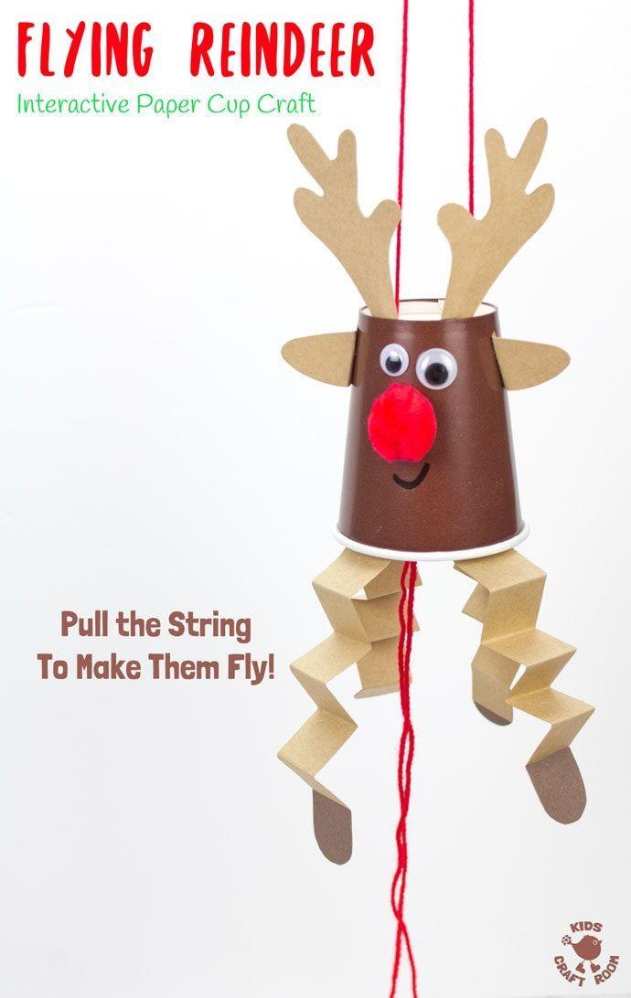 Dieses Flying Paper Cup Rentier Craft ist so einfach zu