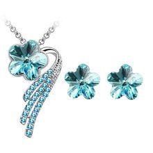 2017 Drop doprava nový přírůstek 18KGP rakouský Crystal Flower s přívěskem módní šperky nastaví náhrdelník náušnice náramek nastavit 84035 (Čína (pevninská část))