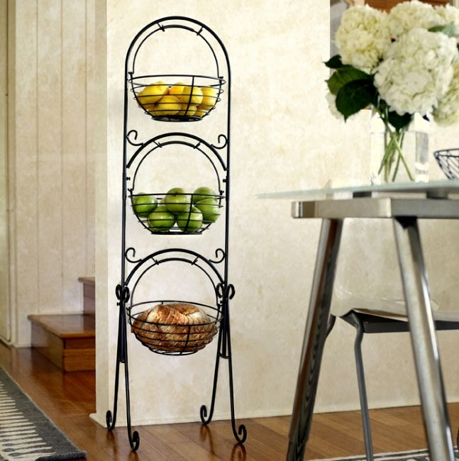 Scroll 3 Tier Floor Basket Stand With Black Finish