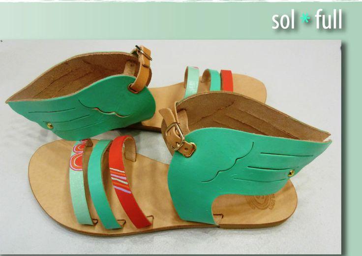 Wings. Handmade - Handpainted leather sandals.