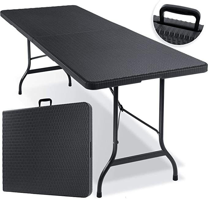 Kesser Buffettisch Tisch Klappbar Kunststoff 180x75 Cm Rattan Optik Campingtisch Partytisch Klappti Camping Tisch Gartentisch Klappbarer Tisch