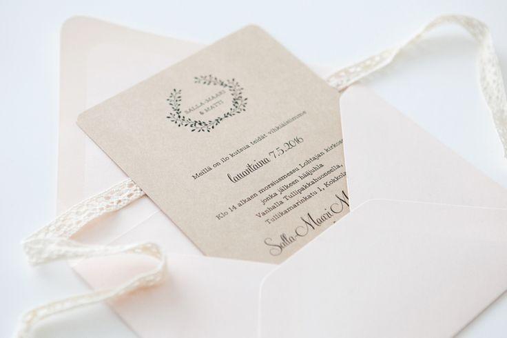 Rustiikkiset maalaisromanttiset Hääkutsut / Custom made rustic and romantic wedding invitations by www.makeadesign.fi / häät