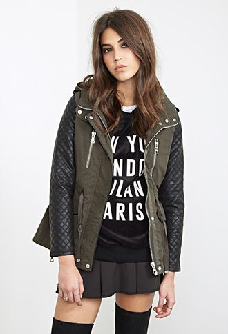 Forever 21 Quilted & Hooded Utility Jacket