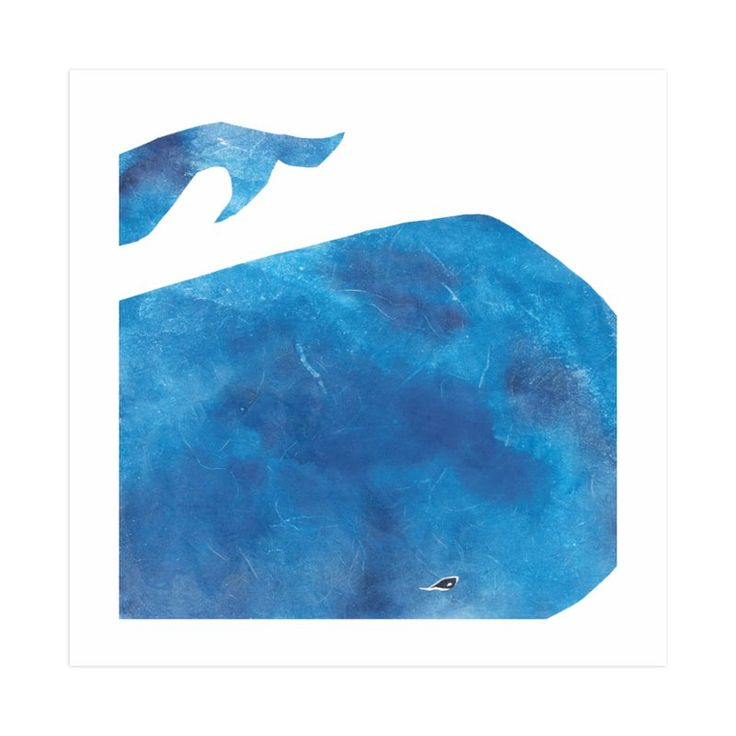 """""""Big Blue Whale"""" - Limited Edition Art Print by Mia Posada in beautiful frame options and a variety of sizes."""