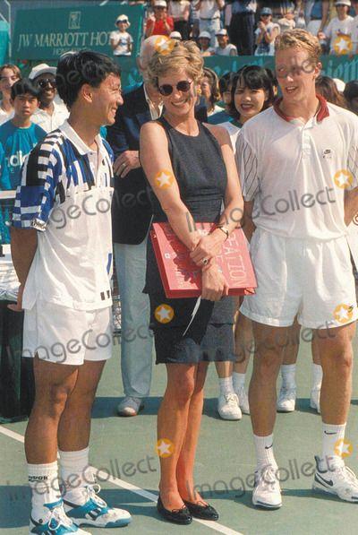 Mp-018537 Princess Diana Michael Chang and Jonas Bjorkman at Salem Tennis Final Hong Kong 04-23-1995 Photo by Dave Chancellor-alpha-Globe Photos