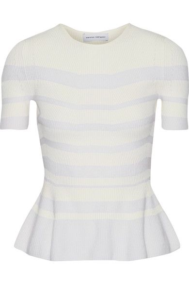 Narciso Rodriguez - Striped Ribbed-knit Top - White - IT44