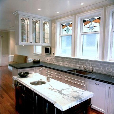 tan brick backsplash with soapstone counters | Home ...