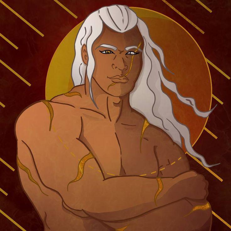Kaleb, personnage des Pierres Écarlates  #nanachi #novel #roman #book #alchemy #magic #mythology #celtic #druid #fantasy #whitehair #art #digitalart #gold #man