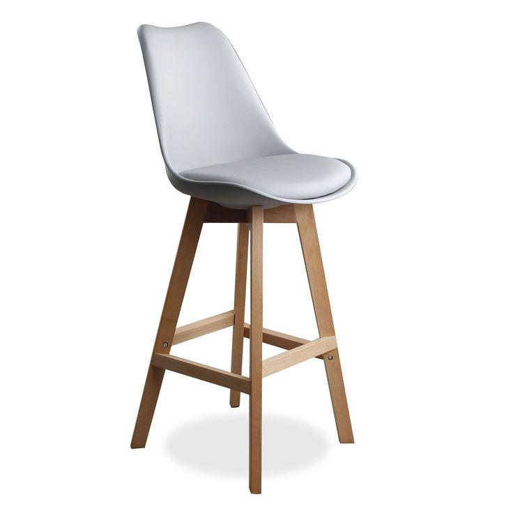 Tabouret design avec dossier, très confortable.          Assise inspirée par la chaise Tulip de Eero Saarinen.     Recueille confortablement le corp.     Il comprend coussin rembourré en similicuir.     Pieds robustes deboisdehêtre.     Disponible en 3 couleurs différentes.               Le Tabouret TULIPA offre un design très attractif, idéal pour fournir une touche unique à votre barre de cuisine. Il est aussi le siège parfait pour votre bar, restaurant ou un café.     Dossier et as...