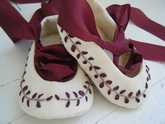Organic Baby Shoes Baby Ballet Shoes Burgundy Silk by BobkaBaby, $80.00