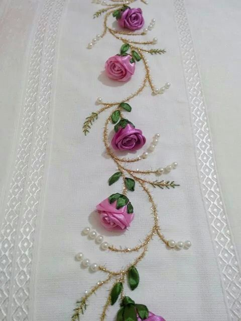 Pretty embroidered combination: Ribbon Roses & Leaves, Silk Embroidery for Stems & Small Leaves and Pearls