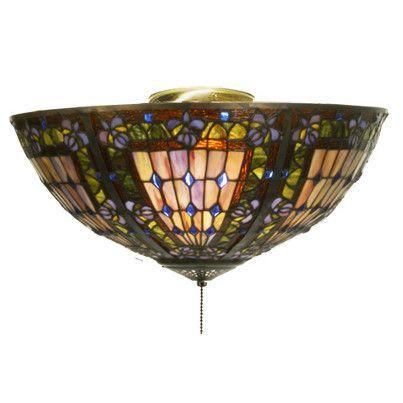 Fleur De Lis 3 Light Bowl Ceiling Fan Light Kit