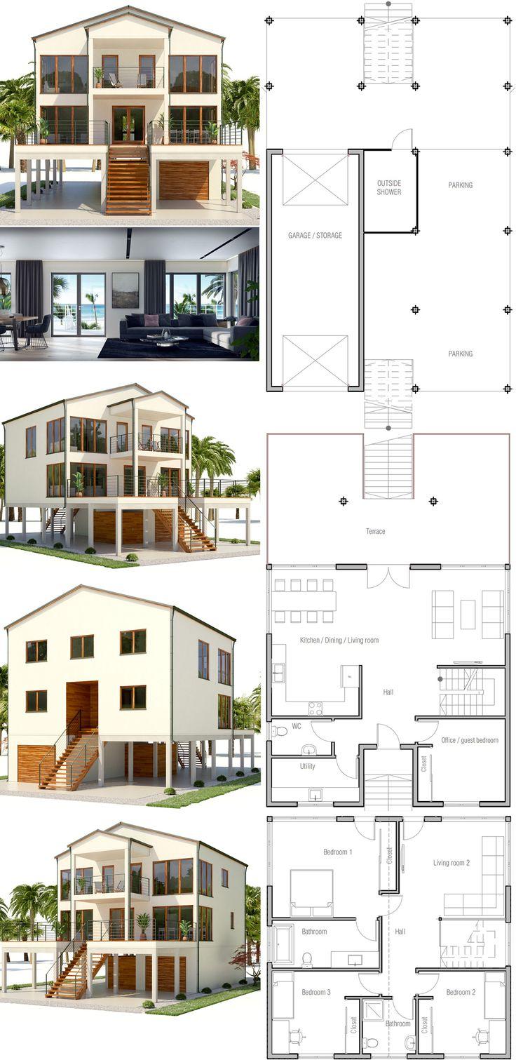 Hausdesign mit vier schlafzimmern  best wohnung images on pinterest  facades home ideas and homes