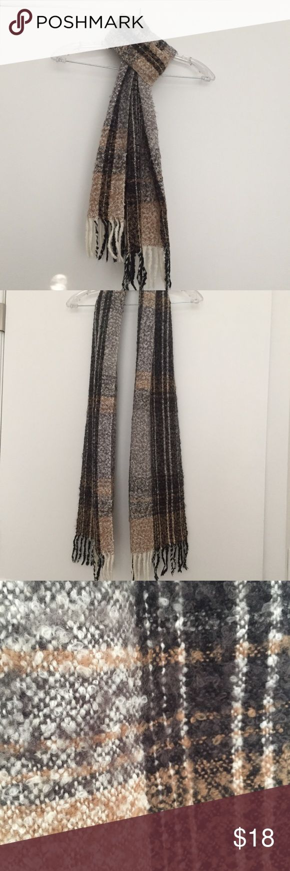 J.Jill fall scarf Tan, Black, Cream scarf with a wool look. Soft and comfortable. No smoking, no pets. Excellent condition! J. Jill Accessories Scarves & Wraps