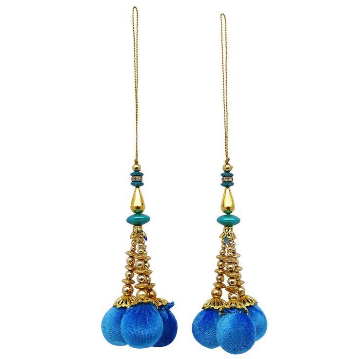 Decorative Blouse Latkans Blue Beaded Fashion Tassels Crafting Supply 1 Pair #indianbeautifulart