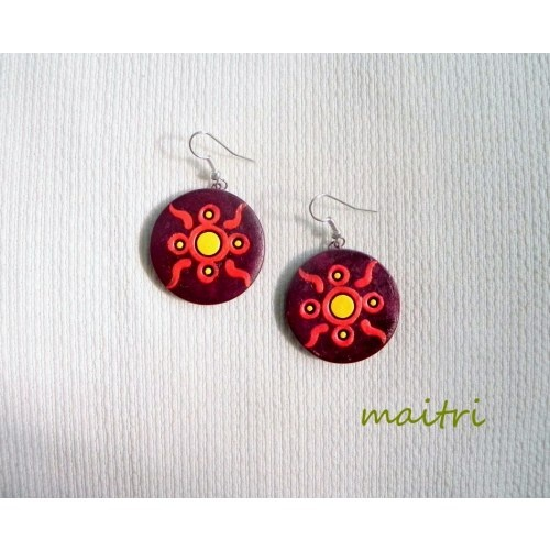 Red Moon_Contemporary Terracotta Earrings maitri_crafts@yahoo.com