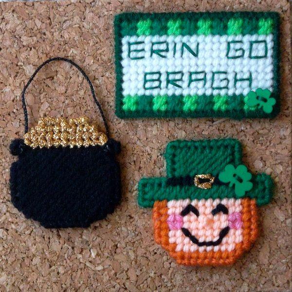 "Plastic Canvas: Erin Go Bragh Magnets (set of 3: leprechaun, pot o' gold and ""Erin Go Bragh"" sign)  -- ""Ready, Set, Sew!"" by Evie"
