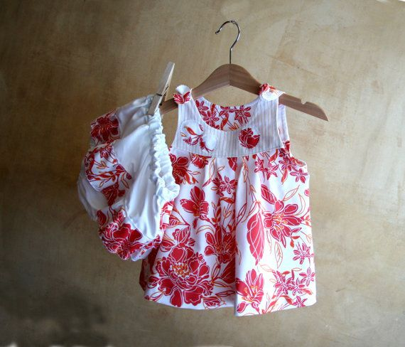 CLICK HERE TO BUY: SET-Baby Girl Clothes-Cotton orange flowers Dress & Diaper Cover-Tunic and Bloomers-Newborn Clothes-Infant-Toddler-Flower Girl