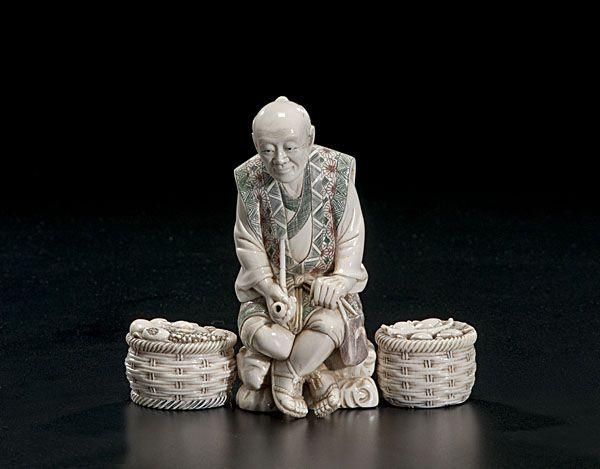 Japanese okimono carved ivory fruit