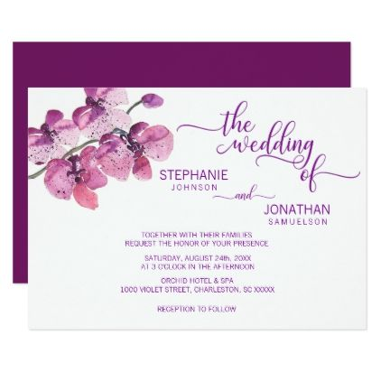 Painted Watercolor Purple Floral Orchids Wedding Card  $1.90  by UniqueWeddingShop  - custom gift idea