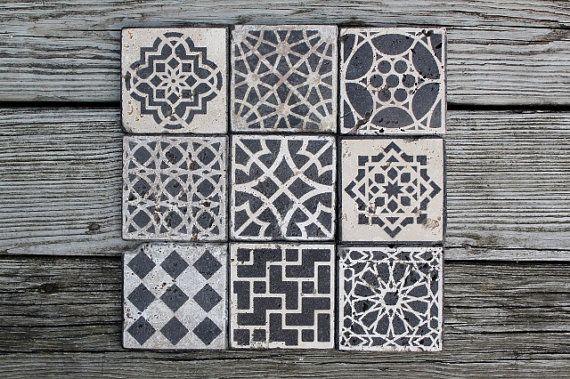 piastrelle marocchine design pietra sottobicchieri set di theends