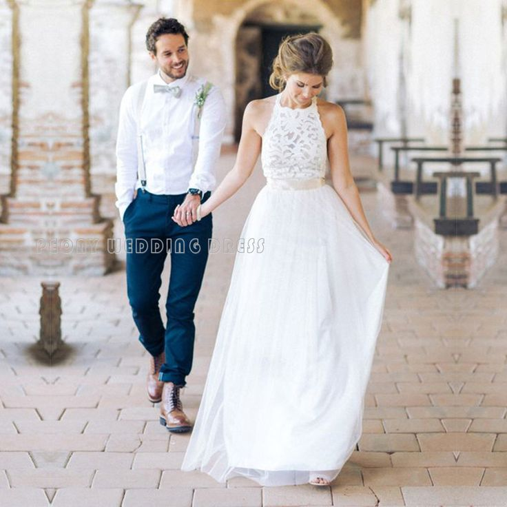 Find a Simple Summer Tulle Lace Wedding Dresses Empire Halter Beach Wedding Dress Cheap White Bridal Dresses Long Wedding Gowns Online Shop For U !