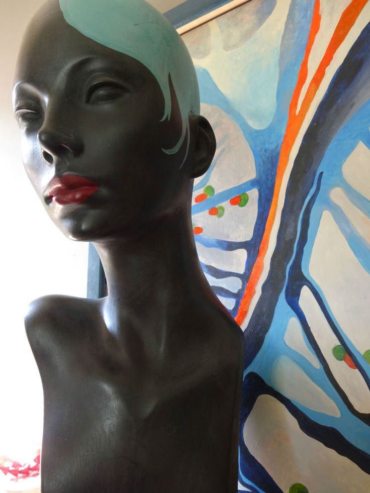 mannequin head bust shop jewellery hat scarf display hand painted vintage style