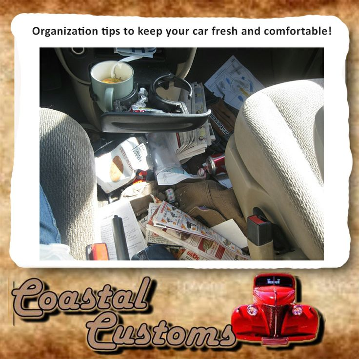 Does the inside of your car look like this photo? Organization tips to keep your car fresh and comfortable! We know that life can be a little crazy, and it's easy for your car to be clean one week and look like you're living in it the next. To read more click here: http://on.fb.me/1kpRfwe #cartips, #customizing #loveofcars