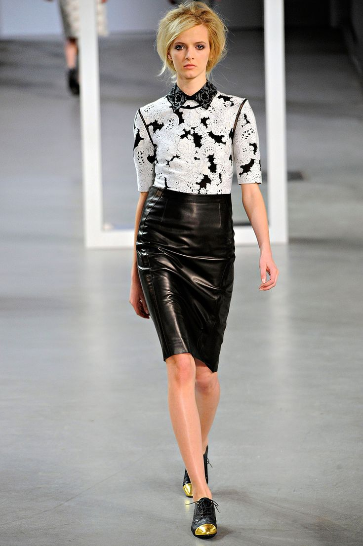 Derek Lam Fall 2012 RTW: Leather And Lace, F W 2012, 2012 Features, 2012Rtw, Leather Skirts, Lam F W, Derek Lam Rtw Fall 2012, 2012 Rtw, Lam Fall