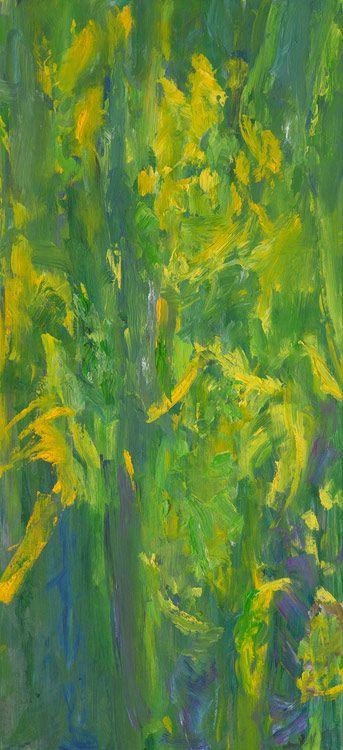 Rautio: Yellow Iris, 110x50 cm, oil on canvas, 2017.